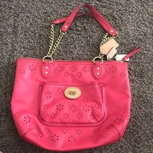 Coach Poppy Eyelet Leather Small chain tote